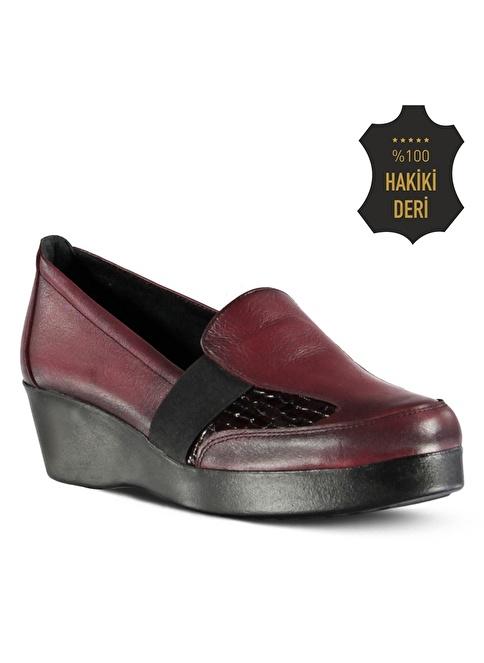 Marjin % 100 Deri Dolgu Topuk Ayakkabı Bordo